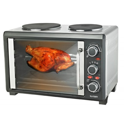 2200W 28Ltr Rotisserie Convection Oven w/ Twin Stove Hotplates - Roast Bake Broil  TU28